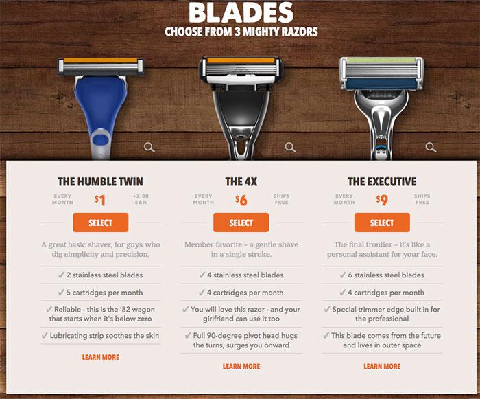 Exemplo de Upselling Dollar Shave