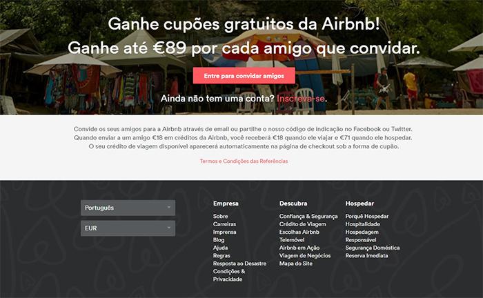 Cupões grutuitos da Airbnb