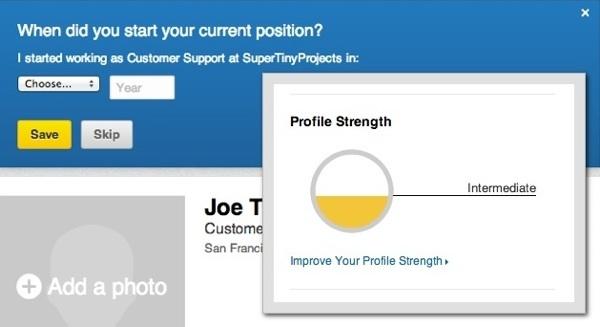 Indicador da força do perfil no LinkedIn como forma de promover a participação do utilizador na plataforma
