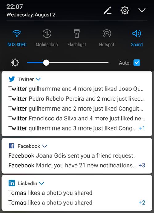 Notificações das aplicações Facebook, Twitter e LinkedIn